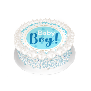 Disco De Azúcar Pre-Cortado Baby Shower Niño 18 cm